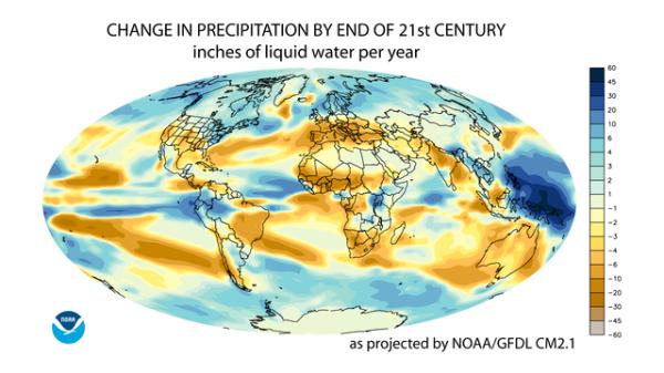 annual averag precipitation for the 21st century