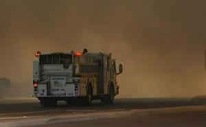 Truck going into smoke