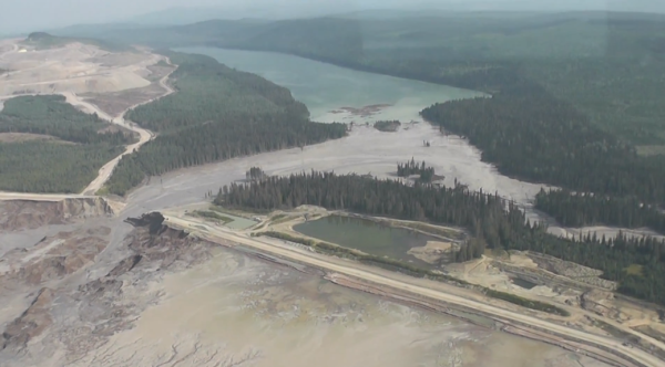 Image taken from the Video of Mount Polley Mine Trailings Pond Breach - Courtesy Cariboo Regional District