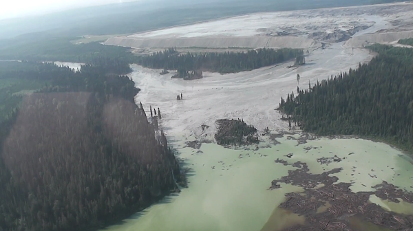 From Video of Mount Polley Mine Trailings Pond Breach  – Courtesy Cariboo Regional District