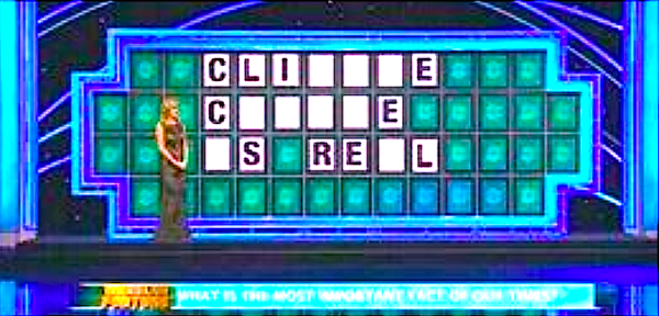 "Wheel of Fortune does ""Climate change is real"" (screenshot)"